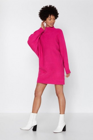NASTY GAL Put a Wing On It Batwing Sweater Dress – hot pink jumper dresses
