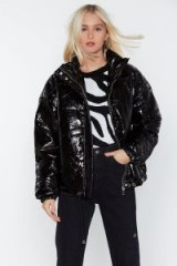 NASTY GAL Rain or Shine Padded Jacket in Black – shiny jackets