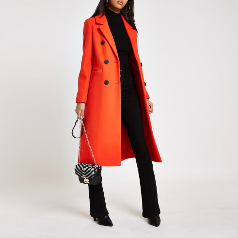 River Island Red double breasted longline coat – bright & smart