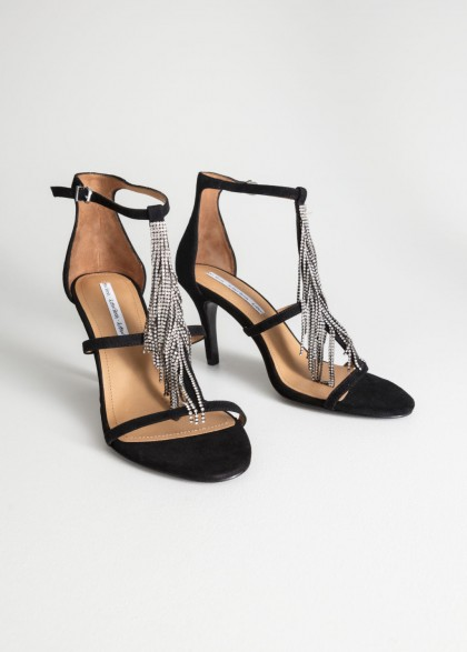 & other stories Rhinestone Fringe Stiletto Pumps / diamante party shoes