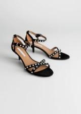 & other stories Rhinstone Studded Kitten Heels – black / diamante sandals
