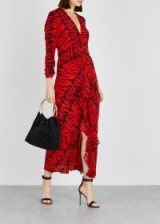 RIXO Rose red tiger-print silk maxi dress / luxury fashion / open back dresses
