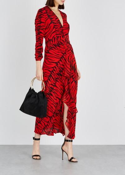 RIXO Rose red tiger-print silk maxi dress / luxury fashion / open back dresses