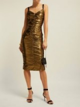 DOLCE & GABBANA Ruched bronze lamé midi dress ~ evening glamour