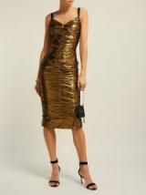 DOLCE & GABBANA Ruched bronze lamé midi dress ~ evening glamour
