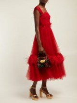 DOLCE & GABBANA Ruffle-trimmed red tulle & feather gown ~ gorgeous Italian clothing