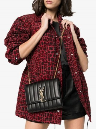 Saint Laurent Black Vicky Chain Mini Bag   chic leather brossbody