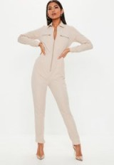 MISSGUIDED sand zip long sleeve utility jumpsuit ~ my effortless casual style