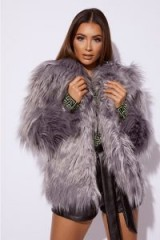 SARAH ASHCROFT GREY OVERSIZED COLLAR FAUX FUR JACKET – shaggy winter jackets