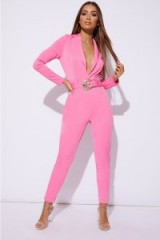 SARAH ASHCROFT PINK PLUNGE BELTED JUMPSUIT – going out plunging jumpsuit