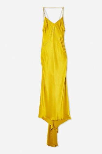 Topshop Satin Chain Maxi Dress in Gold | glamorous slip dresses - flipped