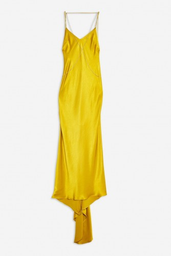 Topshop Satin Chain Maxi Dress in Gold | glamorous slip dresses