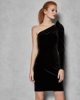 TED BAKER AWWTUM Sculpted one shoulder dress in black / ruched party dresses