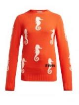 PRADA Seahorse-intarsia orange wool-blend sweater