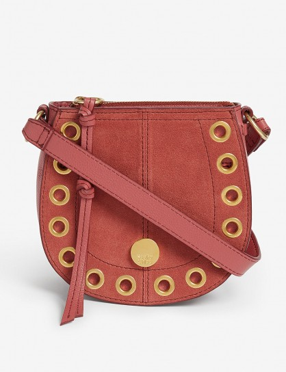 SEE BY CHLOE Grommet leather saddle bag in Rusty Pink