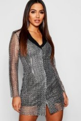 boohoo Sequin Blazer Dress in Black – sequined going out dresses