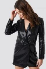 Linn Ahlborg x NA-KD Sequin Dress Jacket in Black ~ shiny lbd