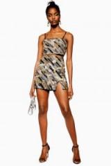 TOPSHOP Sequin Pelmet Mini Skirt in Gold