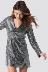 Linn Ahlborg x NA-KD Sequin V-neck Mini Dress Silver ~ bling party dresses
