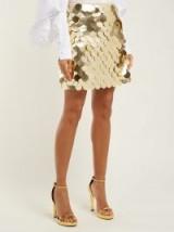 SARA BATTAGLIA Gold sequin-covered mini skirt ~ vintage style evening glamour