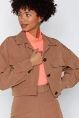 NASTY GAL Set Your Mind At Ease Cropped Jacket in Camel – casual brown jackets