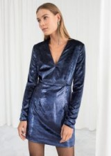 & other stories Shimmer Velvet Mini Dress – blue / party ready