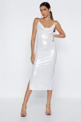 NASTY GAL Shine Waits For No One Cowl Dress in nude – shiny party dresses