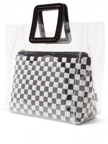 STAUD Shirley black and white sequinned & PVC tote bag ~ clear handbags - flipped