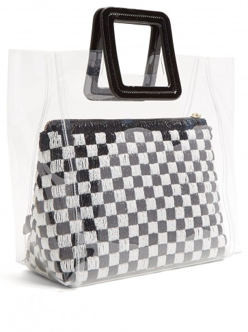 STAUD Shirley black and white sequinned & PVC tote bag ~ clear handbags
