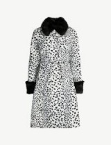 SHRIMPS Leo contrast-collar leopard-print faux-fur coat in white/black ~ glamorous monochrome fur coat