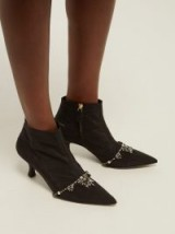 ERDEM Sienna crystal-embellished black faille ankle boots / crystal booties