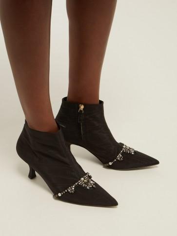 ERDEM Sienna crystal-embellished black faille ankle boots / crystal booties