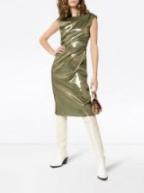 SIES MARJAN Edie Laminated Wrap Dress in Olive | metallic green party fashion