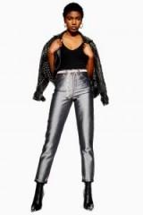 TOPSHOP Silver Space Mom Jeans ~ metallic denim