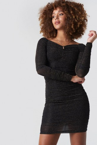Trendyol Silvery Effect Midi Dress Black ~ ruched lbd ~ glamour