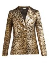 SARA BATTAGLIA Single-breasted leopard-print gold lamé jacket ~ 80s glamour