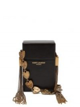 SAINT LAURENT Smoking Box minaudière black leather cross-body bag with hammered heart charm strap ~ small luxe bags