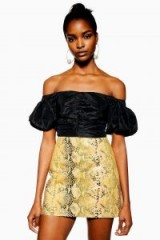 Topshop Snake Leather Mini Skirt in Yellow | reptile prints