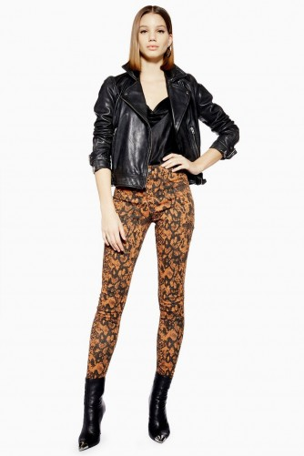 Topshop Snake Printed Joni Jeans in Natural | reptile printed denim skinnies