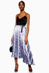 Topshop Snake Satin Pleat Midi Skirt in blue   asymmetric hemlines