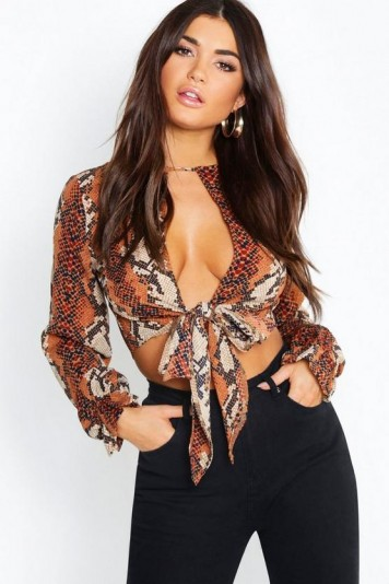 boohoo Snake Tie Front Ruffle Cuff Crop in brown ~ glamorous going out top