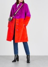STAND Maribel colour-block faux fur coat in purple and red ~ bright winter coats