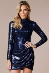 STEPHANIE PRATT OPEN BACK MINI SEQUIN DRESS in NAVY – dark blue party dresses