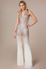 STEPHANIE PRATT SEQUIN AND CHIFFON JUMPSUIT in CHAMPAGNE – going out glamour