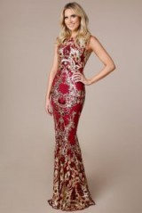 STEPHANIE PRATT SEQUIN MAXI DRESS WITH SCALLOPED HEM in WINE – glamorous red occasion gown