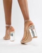 Steve Madden Camille perspex heeled shoes in clear – barely there party heels
