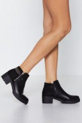 NASTY GAL Stomp the Competition Ankle Boot in Black – black heels