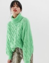 Stradivarius cable roll neck jumper in green | chunky drop shoulder sweater