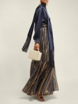 PETER PILOTTO Metallic-striped blue chiffon maxi skirt ~ long luxe skirts