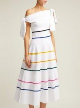 CAROLINA HERRERA Striped off-the-shoulder knitted midi dress